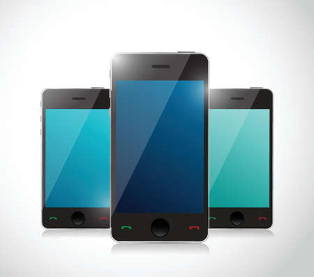 Set of touchscreen smartphones isolated on white background