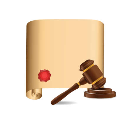 wooden gavel against old scroll illustration design over white Vector