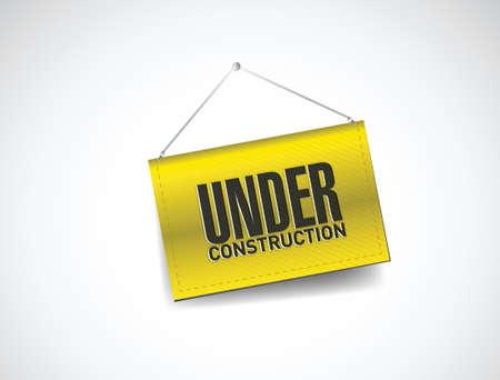 under construction hanging banner illustration design over white Stock Vector - 20510661