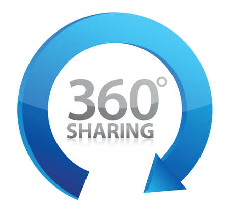 360 degrees Sharing concept illustration design over white Vector