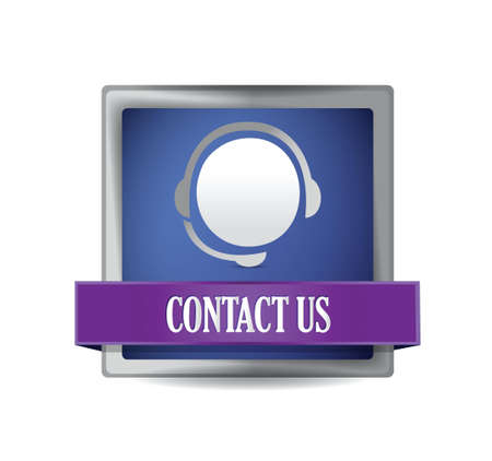 contact center: Contact us glossy blue button illustration design Illustration