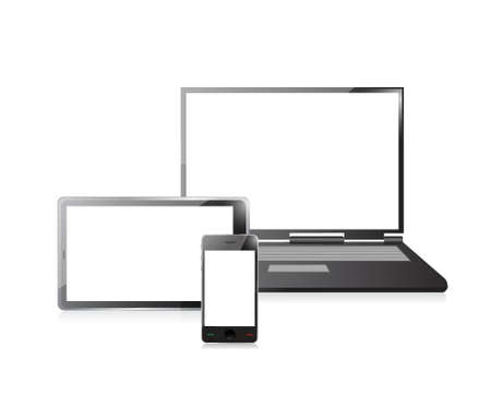 laptop, mobile phone and digital tablet pc computer over white Stock Vector - 20510582