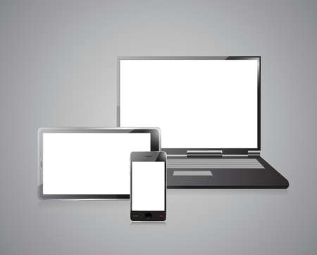 lcd display: laptop, mobile phone and digital tablet pc computer over grey