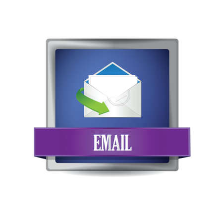 Email glossy blue button illustration design over white