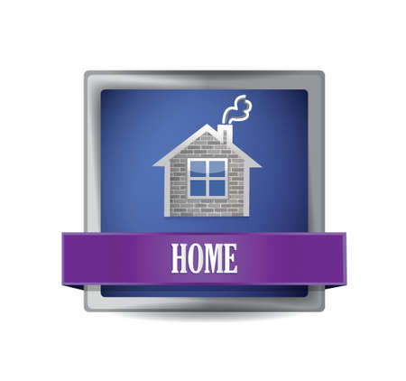 Home icon button illustration design over a white background Stock Vector - 20510647