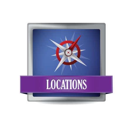 Compass icon button illustration design over a white background Stock Vector - 20510649