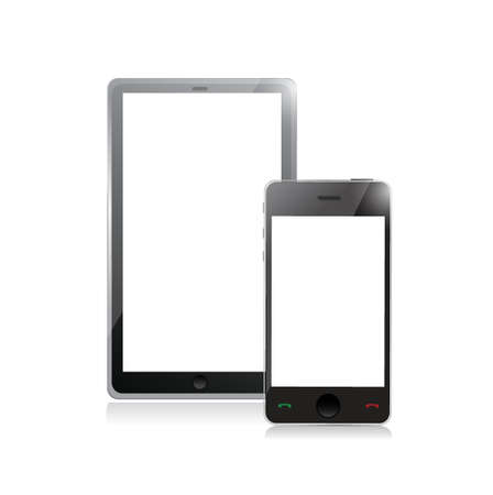 digital tablet PC with mobile smartphone isolated on white Ilustração