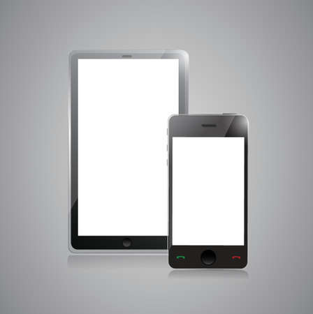 digital tablet PC with mobile smartphone isolated on grey Stock Vector - 20510590
