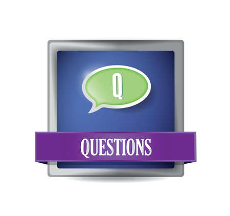 Questions glossy blue button illustration design over white