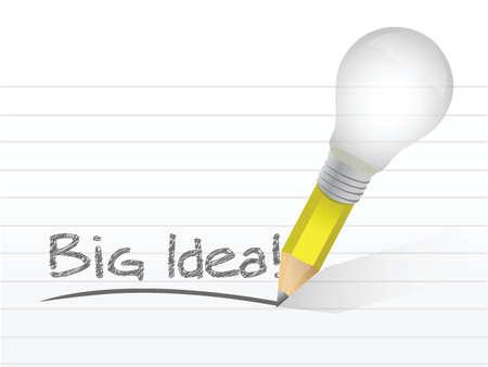 big idea light bulb pencil concept illustration design over white