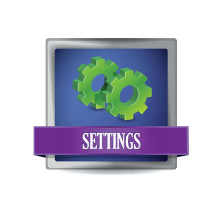 preference: settings icon glossy blue button illustration design over white