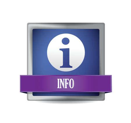 情報アイコンの光沢のある青反映正方形ボタン イラスト デザイン