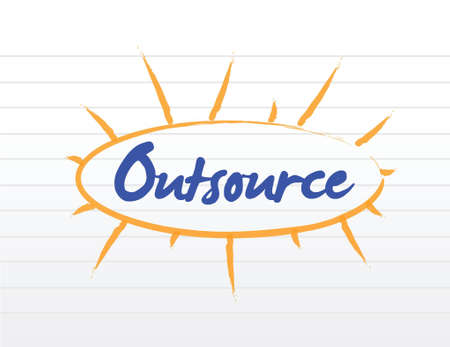 Outsourcing concept illustration over a white notepad Vector