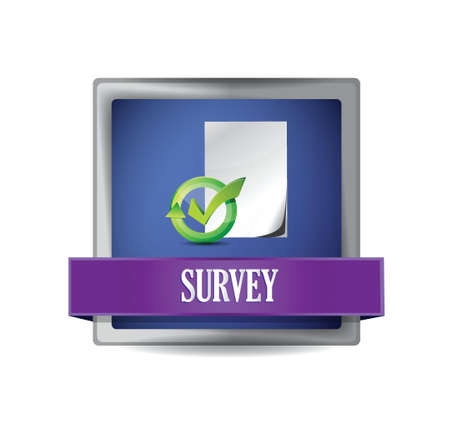 Survey glossy blue button illustration design over white Vector