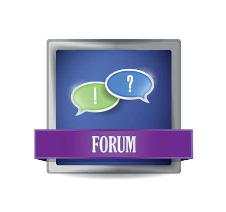 Forum icon button illustration design over white