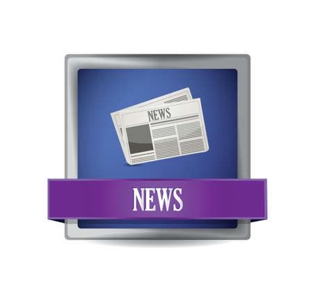 international news: News paper icon button illustration design over white