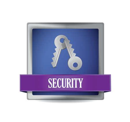security blue square button illustration design over white