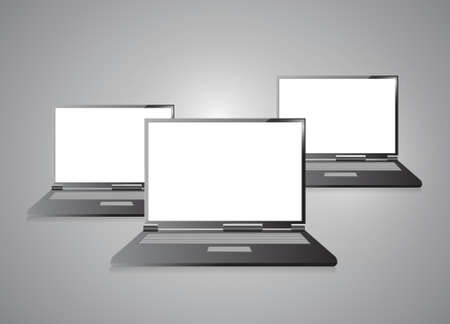 Laptops with blank screen isolated on grey Stock Vector - 20510592