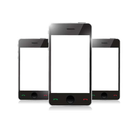 Smart phone with blank screen isolated on white background Stock Vector - 20510594