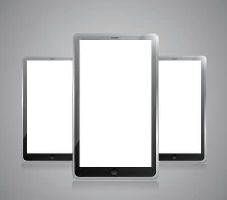 Black tablets pc illustration design on grey background Vector