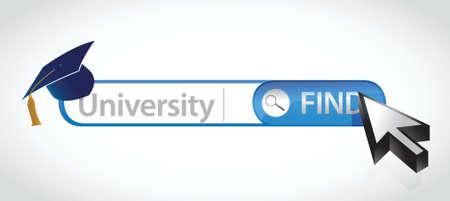 international students: Word University written in search bar illustration design Illustration