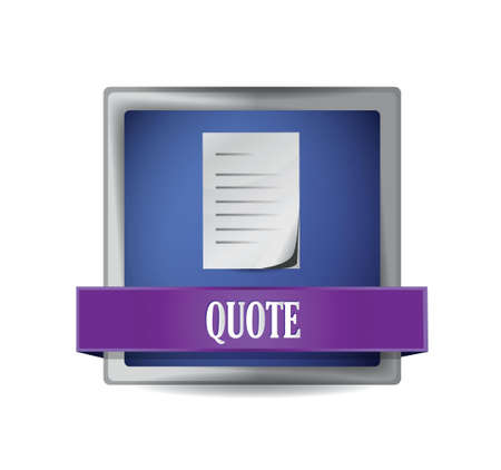quote glossy blue button illustration design over white