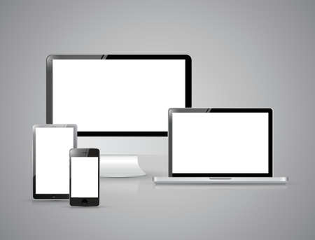 Set of realistic display, laptop, tablet computer and mobile phone template