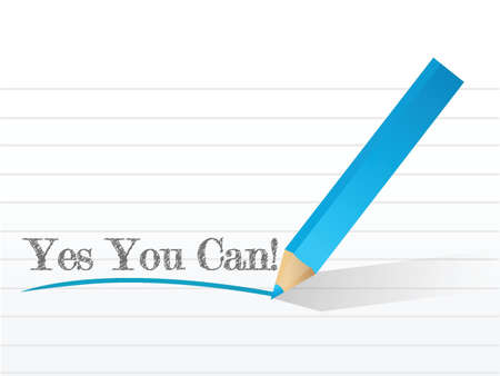 can yes you can: Yes You Can message illustration design over a white background