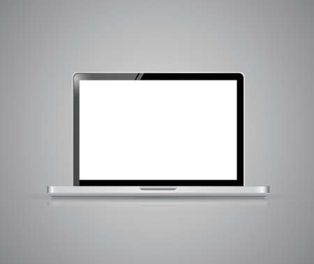 Modern glossy laptop illustration design on a grey background Vector