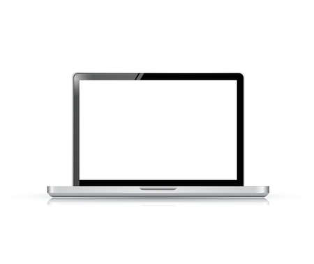 Modern glossy laptop illustration design isolated on white Vector