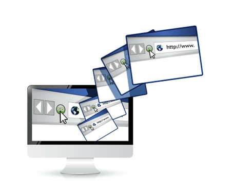 computer internet sites connection illustration design over white Vector