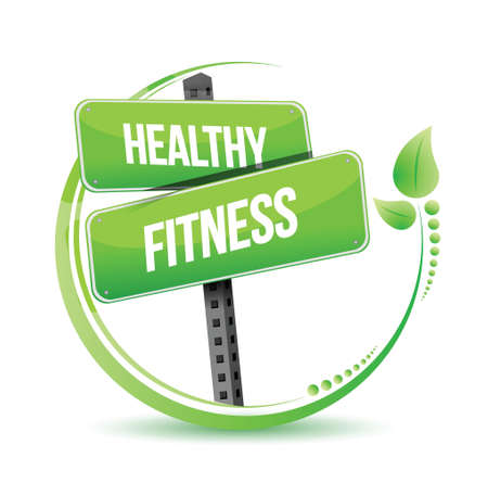 healthy and fitness street sign illustration design over white Vector