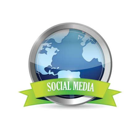 social media metallic seal illustration design over white