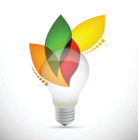utilization: lightbulb leaves idea concept illustration design over white