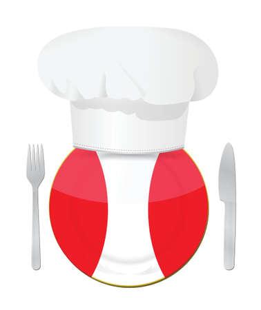 bandera peru: Restaurante, men� de dise�o de ilustraci�n peruana tradicional en blanco Vectores