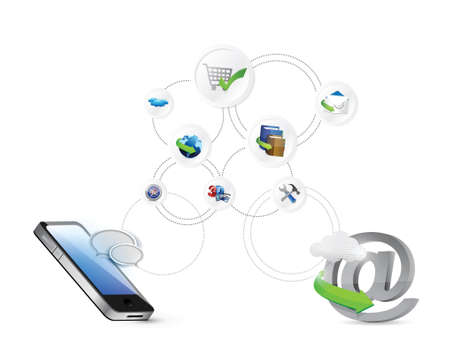network server: online network settings illustration design connection over a blue background Illustration