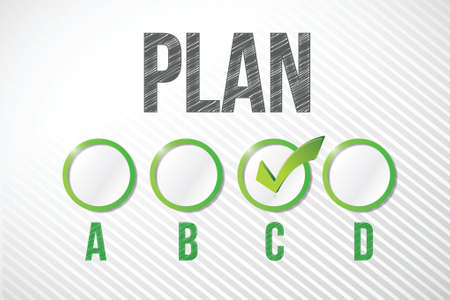 choosing plan c illustration design over a white paper background