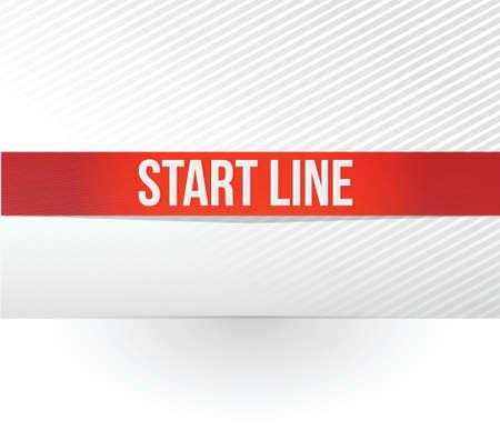 白い背景の上ライン赤テープ図設計を開始します。  イラスト・ベクター素材