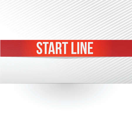 exact: start line red tape illustration design over a white background