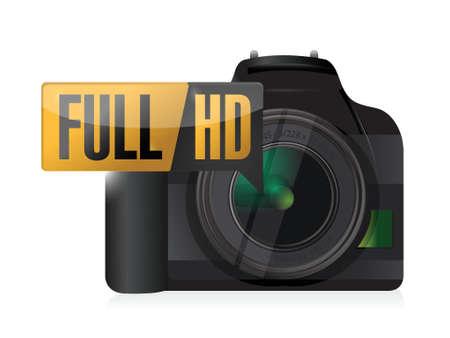 hd: full hd video camera illustration design over white