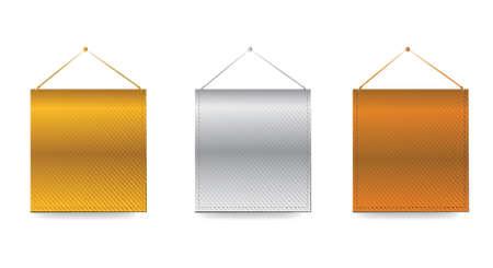 Gold, Silver, Bronze baners illustration design over white Illustration