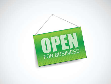 open for business sign illustration design over white Vector