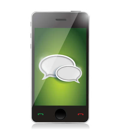 Mobile phone with chat icons illustration design over white Stock Vector - 20530686