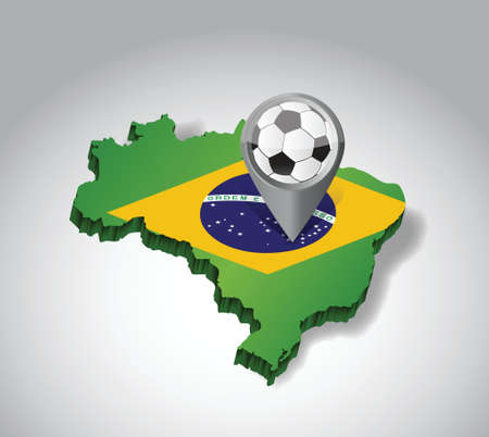 creole: brazil. Brazilian soccer concept illustration design over white