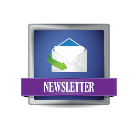 Newsletter glossy blue icon illustration design over white Vector