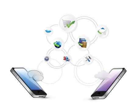 phone system: media technology cloud computing concept illustration design graphic