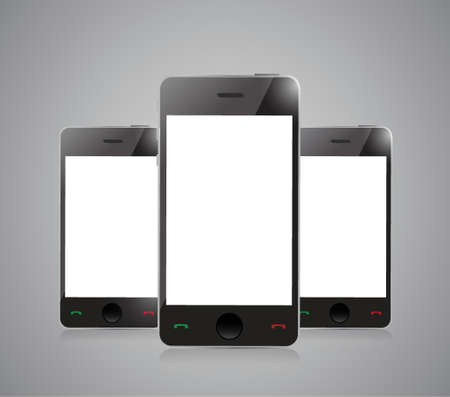 Smart phone with blank screen isolated on grey background Vector