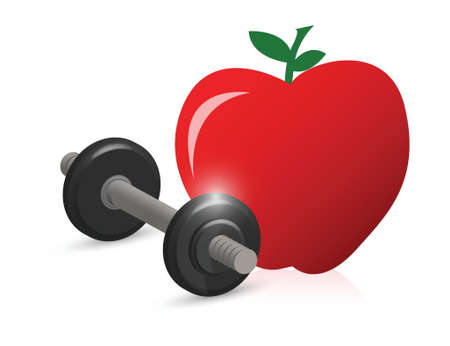 unattached: fitness weight and apple illustration design over white Illustration
