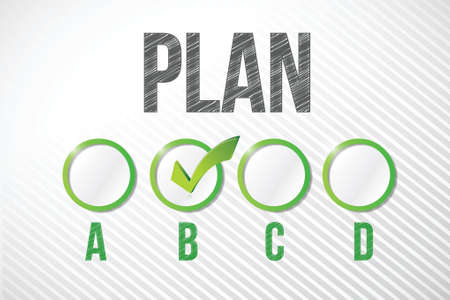 choosing plan b illustration design over a white paper background