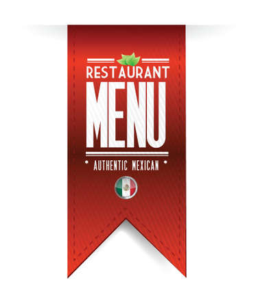food label: mexican restaurant texture banner illustration over white